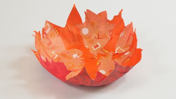 Paper Mache Leaves Bowl