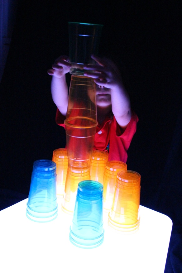 stacking color cups light cube
