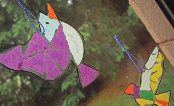 tissue mosaic birds suncatcher