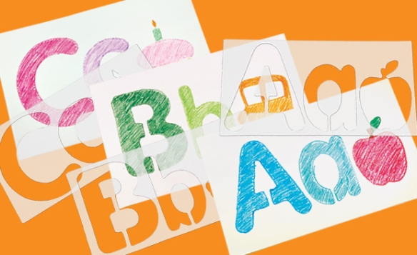 big alphabet picture stencils